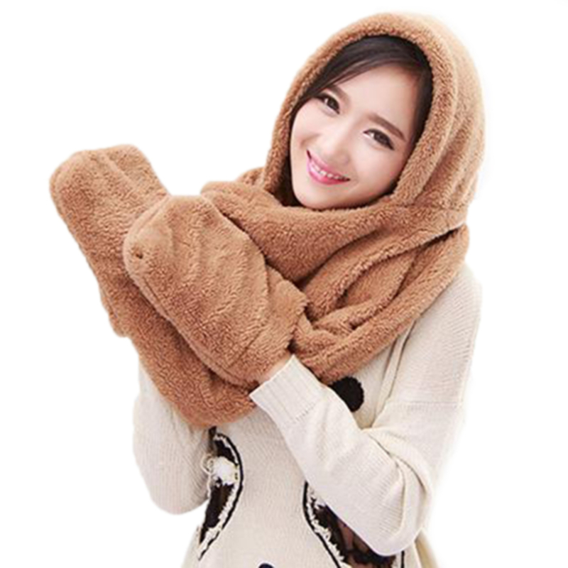 3 In 1 Women Winter Warm Soft Hood Scarf Snood Pocket Hats Gloves Fashion Hooded Srarves Scarf Hat Glove 3 Piece Sets