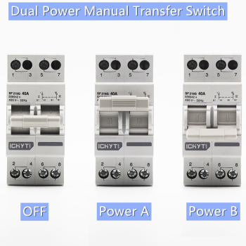 Interruptor Manual de transferencia de 2P 40A MTS Doble potencia, interruptor de circuito de interbloqueo 1