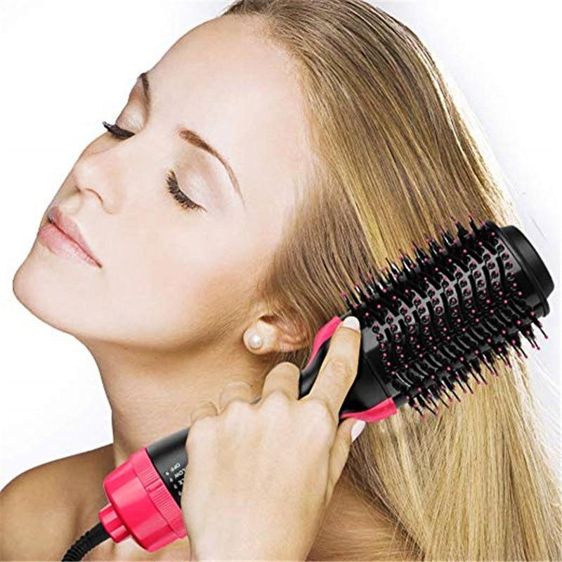Купить с кэшбэком New 1000W Professional Hair Dryer Brush 2 In 1 Multi-Function Shape Comb Straight Hair Curler Comb Electric Hair Dryer