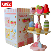 QWZ Wooden Simulation Mini Ice Cream Candy House Play Educational Toys Kitchen Toys For Children Pretend Play Game Kids Gift