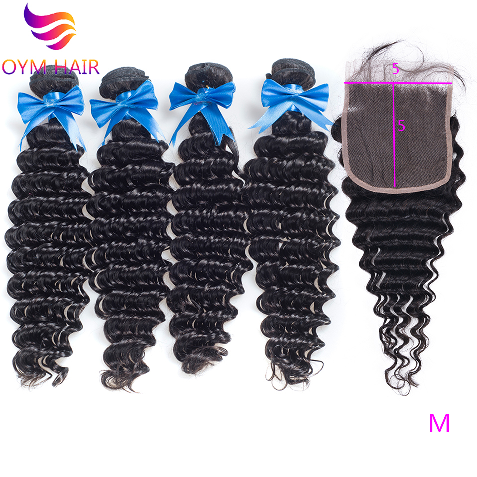OYM HAIR Brazilian Deep Wave Bundles With Closure Non-Remy Human Hair Weave 3 4 Bundles With 5X5 Lace Closure Hair Extensions
