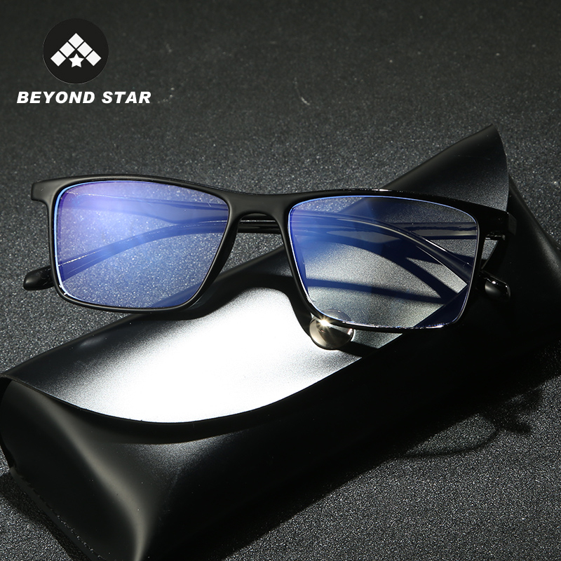 BEYONDSTAR Anti Blue Light Glasses Square Protection Eyeglasses Clear Blue Light Blocking Glasses Men Computer Eyewear G8040