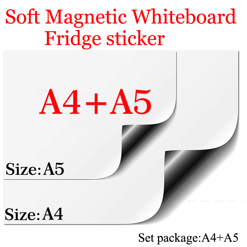 Magnetic White Board A4+A5 Set Package Soft Home Office Kitchen School Dry Erase Board WhiteBoard Flexible Pad Magnet Fridge