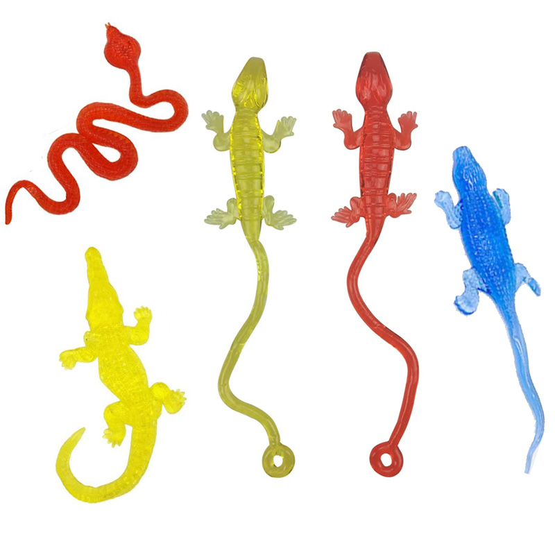 6Pcs Water Snake Alligator Crocodile Lizard Dinosaur Toy Prank Stuff Small Mini Sticky Stretchy Toys Lot For Kids Children