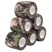 6 Roll Camouflage Tape Cling Scope Wrap Camo Stretch Bandage Self-Adhesive Tape for Camping Hunting Bike Telescope