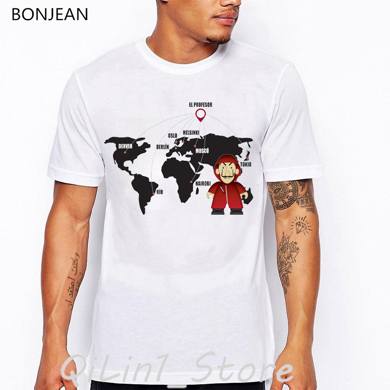Camiseta De Casa De Papel ropa De hombre 2019 diseño divertido La Casa De Papel camiseta camisetas hombre Camiseta gráfica homme tops