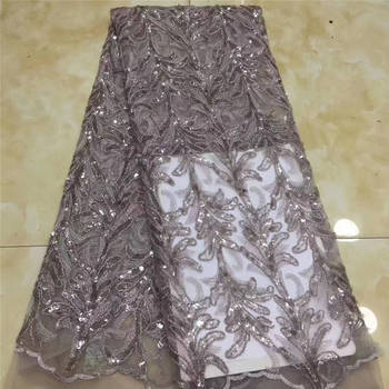 Nigeria Embroidery Lace Fabric, Lace Dress Burnt, Full Sequin Dresses African Lace Mr2743b
