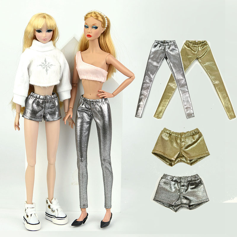 1/6 BJD Doll High Quality Elastic Leather Pants Trousers For Barbies Doll Fashion Outfit Accessories Russian DIY