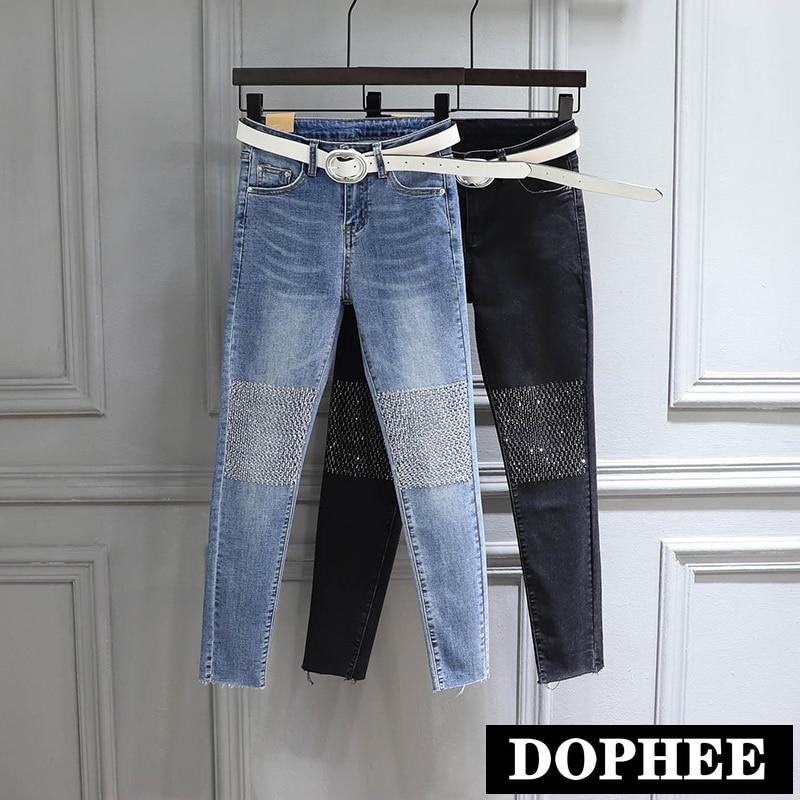 Jeans Pants Woman 2020 Spring New High-Waist Knee Rhinestone Stretch Slim-Fit Pencil Jeans Trousers Skinny Denim Pants Girls