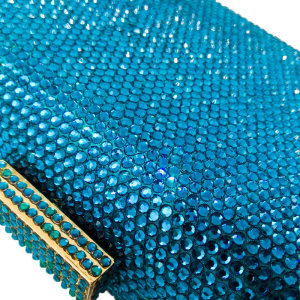 Image 4 - Boutique De FGG Turquoise Blue Women Crystal Clutch Evening Bags Wedding Rhinestones Handbag and Purse Small Bag For Cell Phone