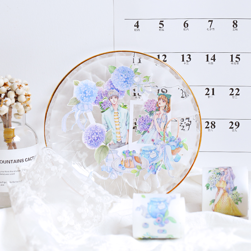 1pcs/lot Washi Masking Tapes Dream Hydrangea Blueberry Decorative Adhesive Scrapbooking DIY Paper Japanese Stickers