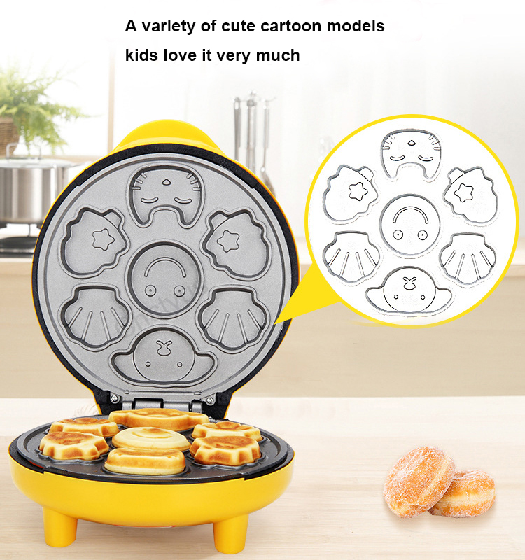 Children Mini Cartoon Waffle Maker Cake Machine With Double Sided Heating To Making Breakfast 5