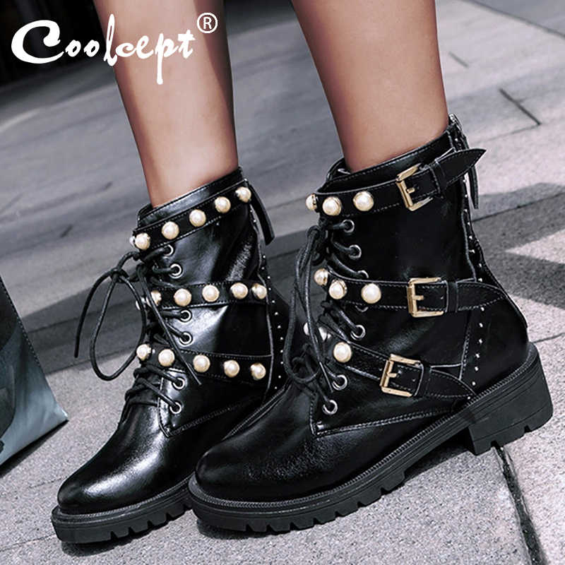 Coolcept  Genuine Leather Leisure Martin Boots Pearl Woman Shoes Casual 3 Buckles Boots Shoes Woman Female Boot Size 34-39