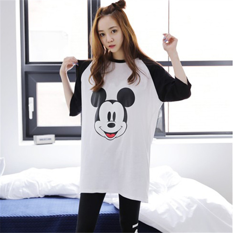 Disney Mickey Mouse Spring Autumn Long-sleeved Pajamas Lady Underwear Nightgowns Cartoon Suit Female Home Clothing Sleepwear