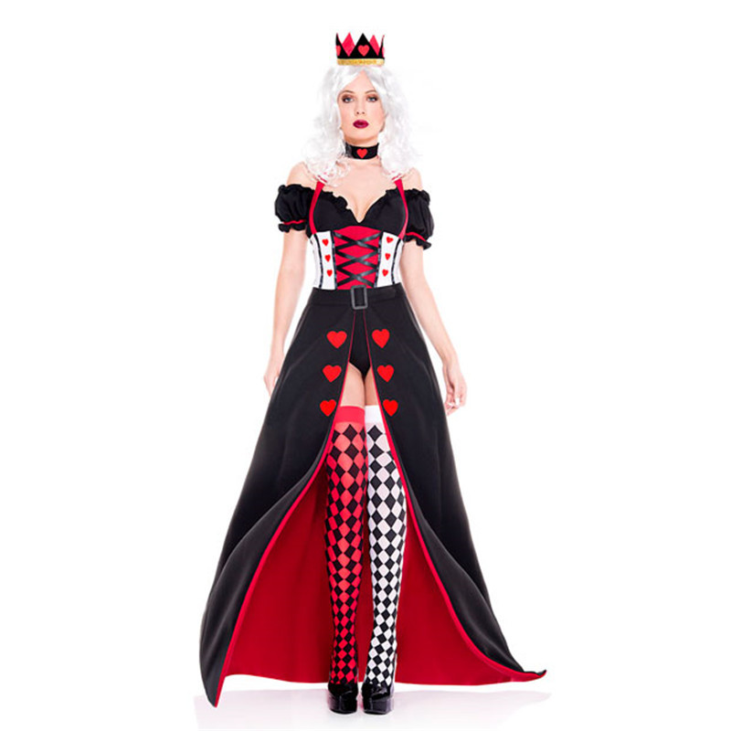 <font><b>Sexy</b></font> Adult Women Red Queen Cosplay <font><b>Costume</b></font> <font><b>Alice</b></font> <font><b>in</b></font> <font><b>Wonderland</b></font> The Queen of Hearts Girls Dress Poker Queen Halloween <font><b>Costume</b></font> image