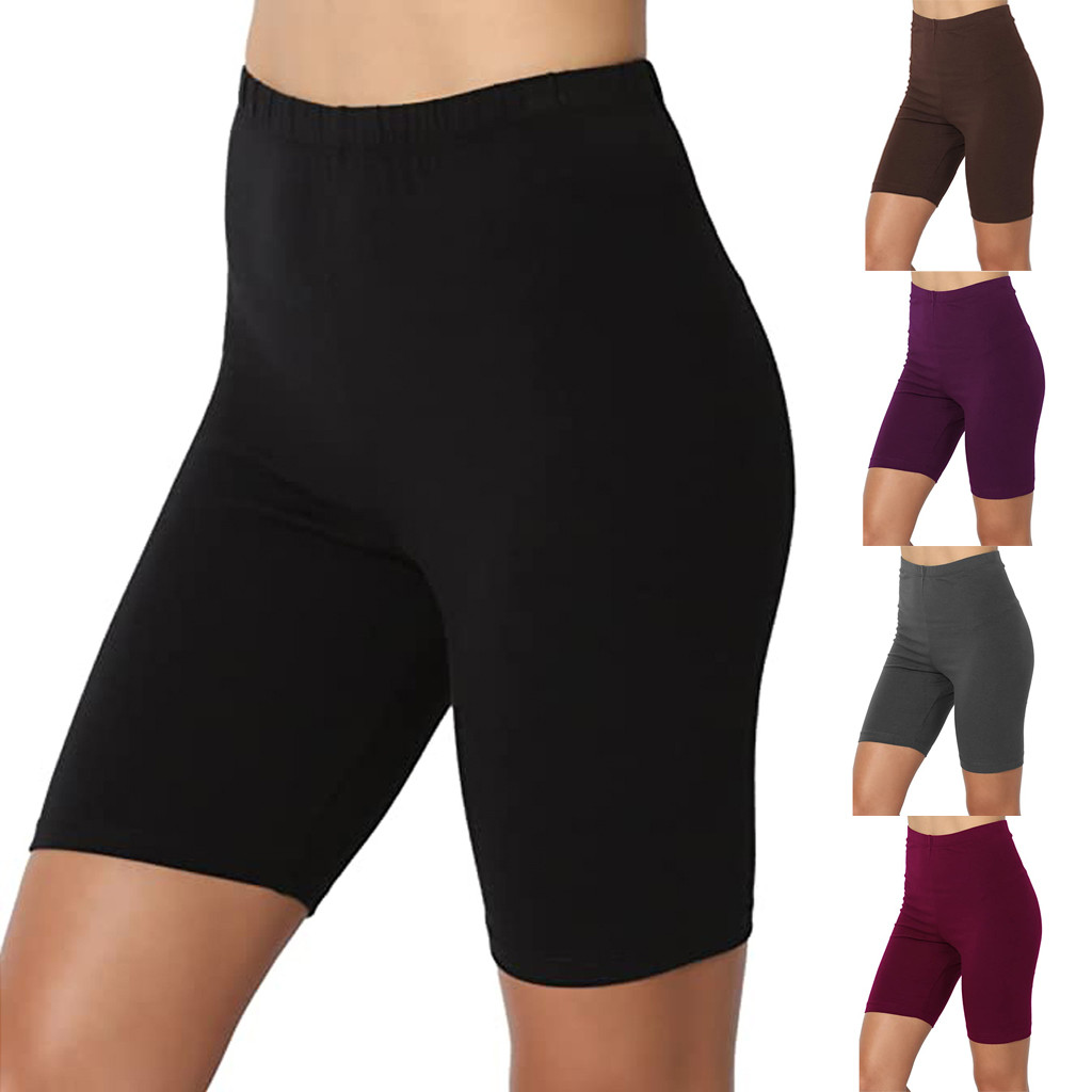 Leggings Women Sport Solid Mid Thigh Stretch Cotton Span High Waist Active Short Legings Vetement Femme 2020