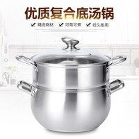 304 aço inoxidável pequeno vapor de dupla camada de peixe panela de pão cozido no vapor panela eletromagnética engrossado sopa panela de arroz guisado panelas p/ banho-maria     -