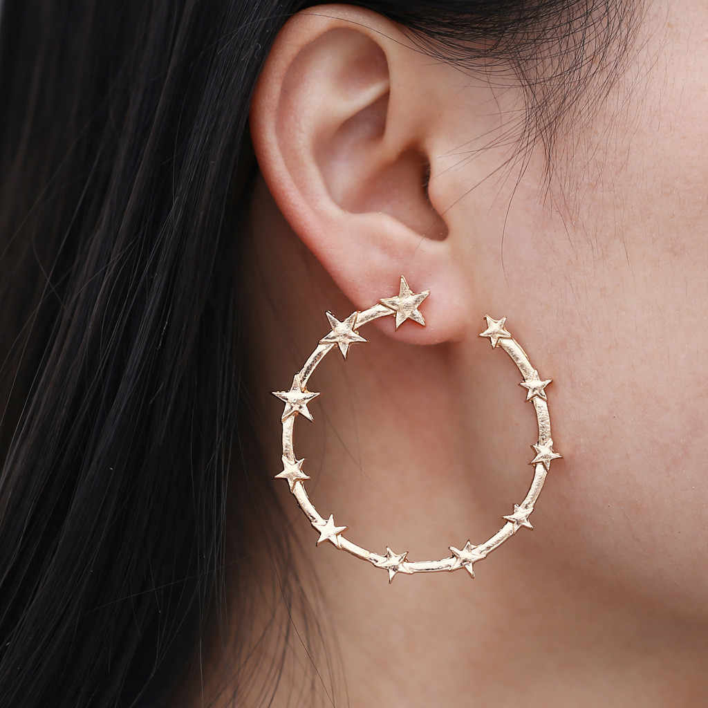 Punk Minimalist 40mm Thick Tube Big Gold Alloy Round Star Circle Hoop Earrings