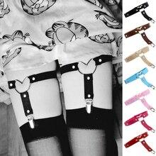 Black Pu Leather Garter Belt Women Elastic Heart Leg Garter Straps Thigh Harness Harajuku Kawaii Punk Gothic Accessories