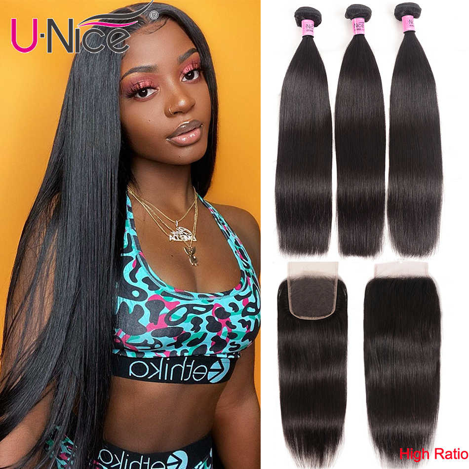 UNice Hair Transparent Lace With Closure 8-30 Malaysian Straight Hair 3 Bundles with Closure Remy Human Hair Extension Bundles