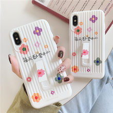 3D Striped Suitcase With Holder Phone Case For iPhone X XR XS Max flower Soft TPU Stand iPhones 6S 7 8 Plus Back Cover