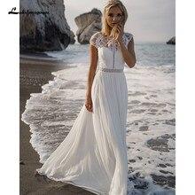 Lakshmigown vestido de casamento bohemain sexy renda e chiffon macio até o chão apliques vestidos de noiva boho para mulher elegante