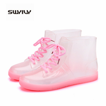 SWYIVY 2019 New Rain Boots Women Transparent Shoes Fashion Lace Up Ankle Boots Female Waterproof Non-slip PVC Casual Shoes Woman 2018 new fashion rain boots women shoes waterproof pvc women s rain shoes
