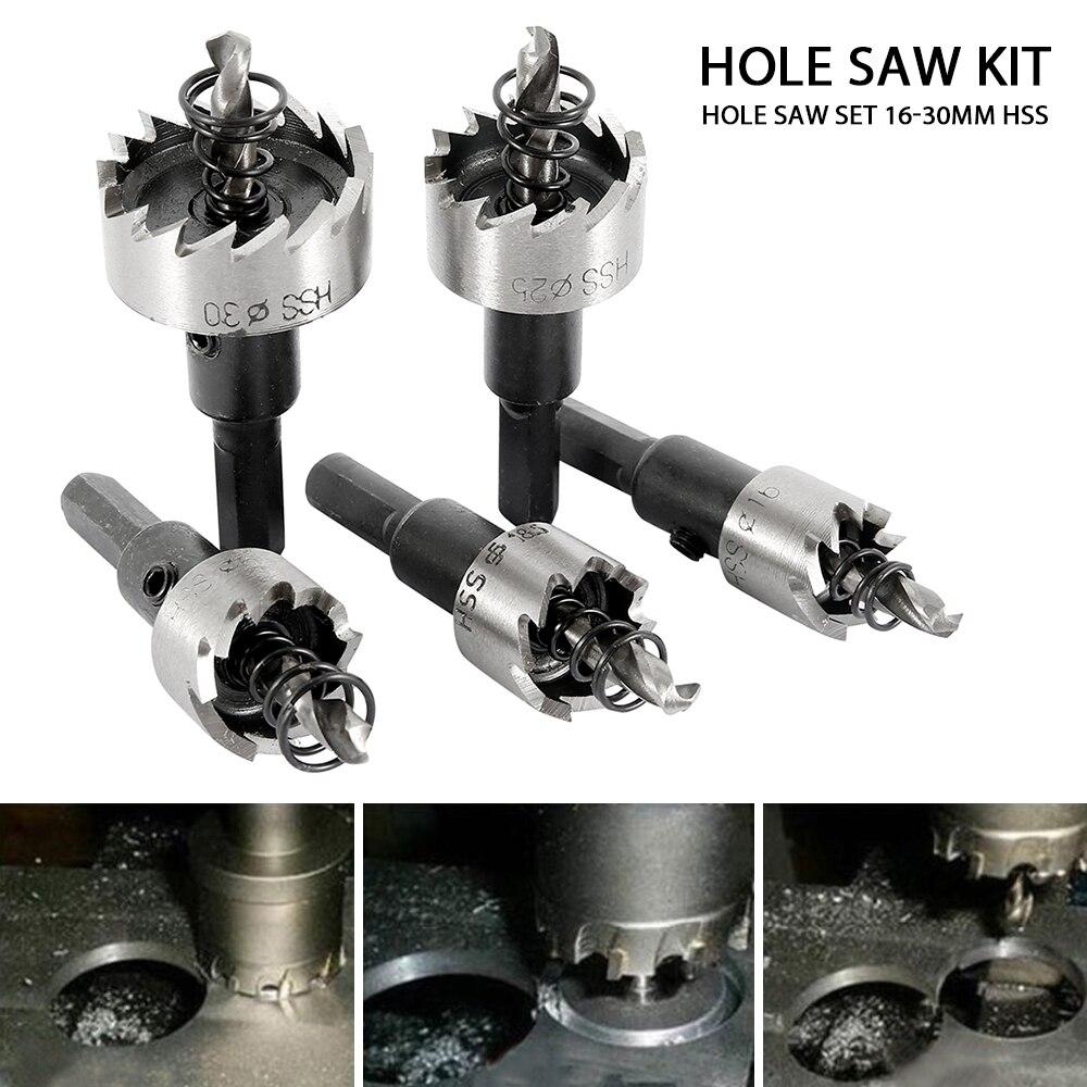 5pcs//set 16 MM 18.5 mm 20 mm 25 mm 30 mm HSS Acier Inoxydable Drill Bit Trou Scie Set