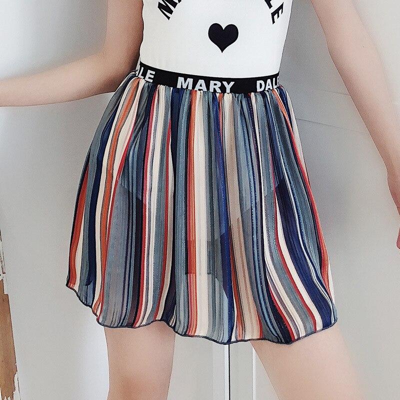 New Style Women's Vertical Striped Short Skirt Block Sun Bubble Hot Spring Bikini Swimsuit Skirt Alone Short Skirt