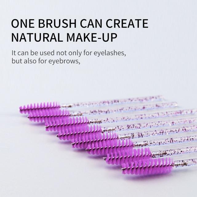 NATUHANA Good Quality Disposable 50 Pcs/Pack Crystal Eyelash Makeup Brush Diamond Handle Mascara Wands Eyelash Extension Tool 4