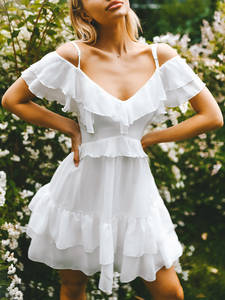 Sexy Dress Spaghetti-Strap Holiday Elegant White Boho Women Female Short Vestidos Beavant