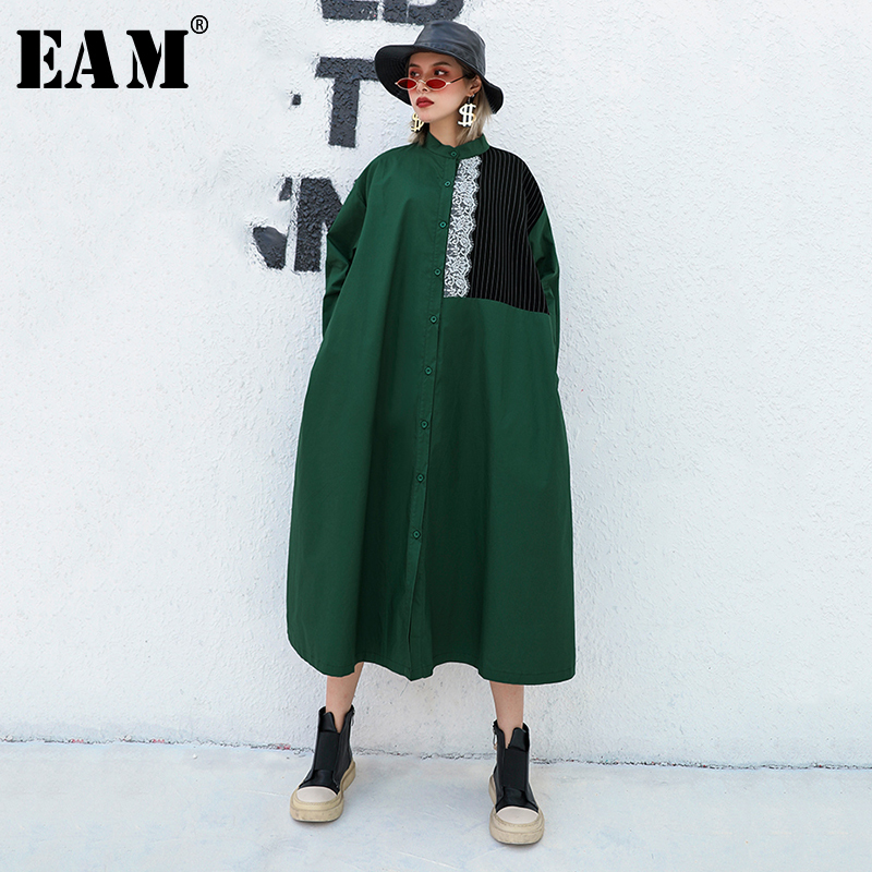 [EAM] Women Green Lace Striped Split Big Size Shirt Dress New Lapel Long Sleeve Loose Fit Fashion Tide Spring Autumn 2020 1B319
