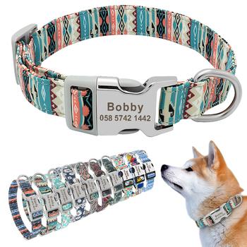 Spersonalizowana obroża dla psa Nylon grawerowane Puppy Tag kołnierz niestandardowy pies ID Tag obroże dla małych średnich psów Beagle produkty dla zwierzaka domowego tanie i dobre opinie Didog Podstawowe obroże Wszystkie pory roku Drukuj Spersonalizowane Personalized Collar Printed S M L Nylon+ metal buckle