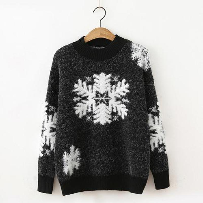 Women Christmas Sweater 2019 New Autumn Winter Snowflake Pattern Pullover Knitted Tops Ladies Turtleneck Cute Underwear Sweaters