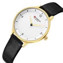 CURREN Ladies Watch 2019 Simplicity Modern Quartz Watches Genuine Leather Strap Ultra-Thin Wristwatch Clock Women Waterproof