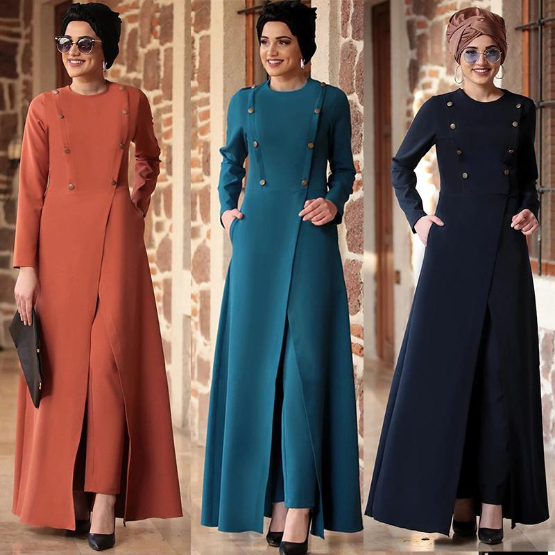 Eid Turkey Muslim 2 Piece Set Women Abaya Long Dress and Pants Outfits Suits Islamic Clothing Musulman Ensembles Moroccan Kaftan