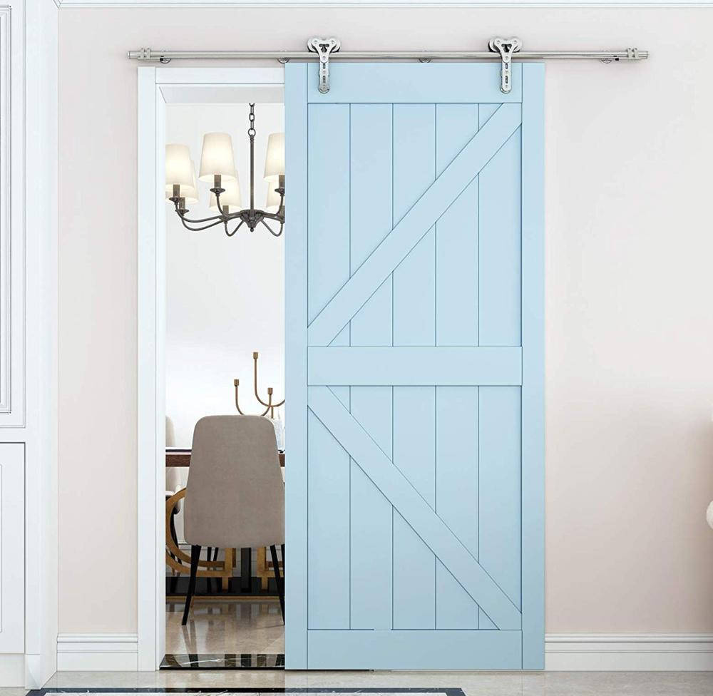 DIYHD Brushed Stainless Steel Double Head Hollow Cut Long Roller Sliding Barn Door Hardware