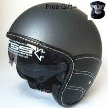 цена на Half Face Vintage Motorcycle Helmet Retro German Kask,Cafe Racer,Scooter,Cruiser,Chopper,Matte black,half leather DOT