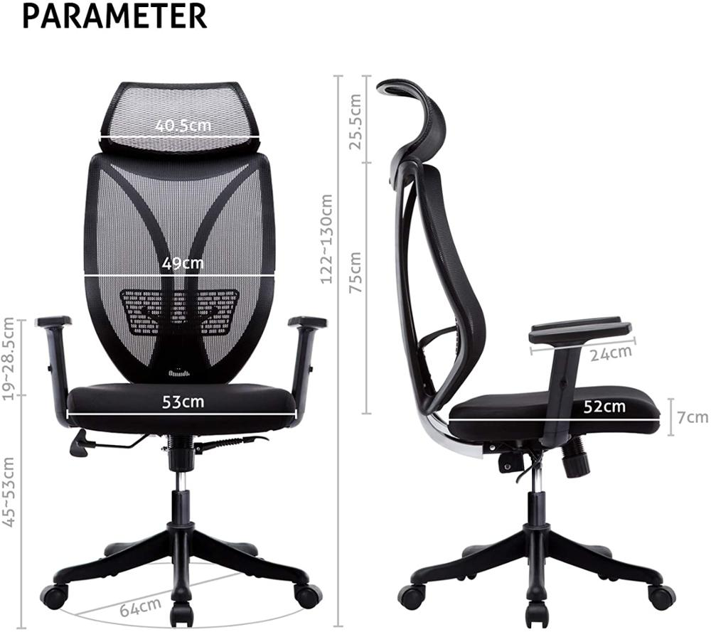 US $48.48 48% OFFHigh Back Ergonomic Executive Office Chair Adjustable  Armrests Mesh Computer Chair Head Support GBOffice Chairs - AliExpress
