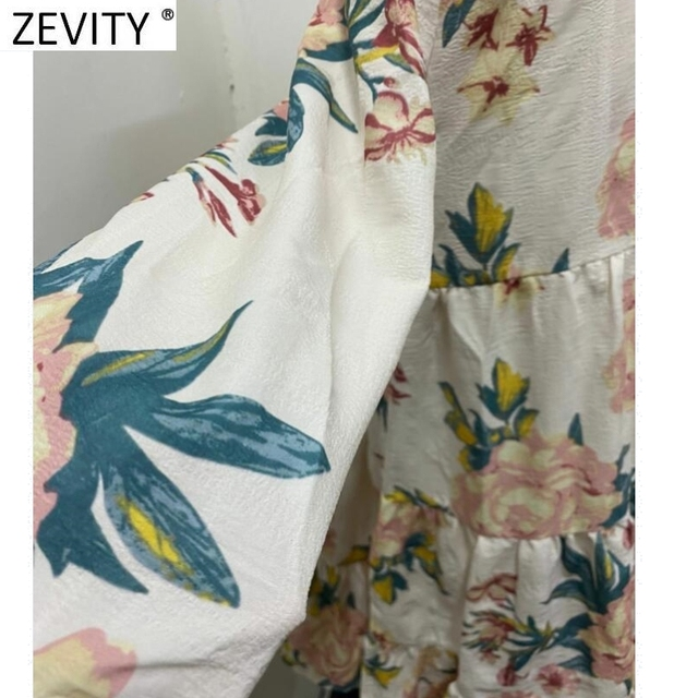 Elegant Flower Printing Pleated Ruffles Mini Dress Three Quarter Sleeve Kimono style 5
