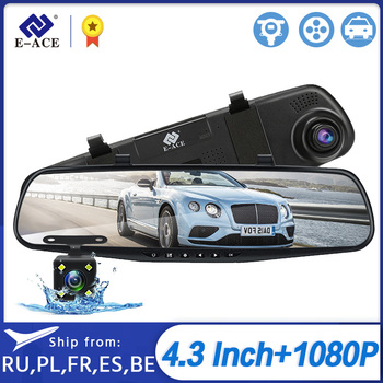 E-ACE A33 Car Dvr Mirror Dash Camera FHD 1080P Dashcam 4.3 Inch Auto Video Recorder support Rear View Camera Registrar