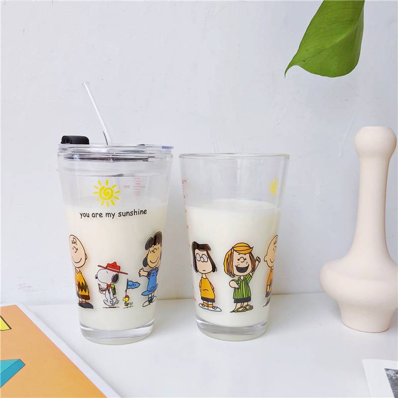 450ML Cartoon Snoopy Glass Cup with Straw and Lid Leakproof Fruit Juice Drink Bottle Milk Cup Water Pots Office Home Drinkware