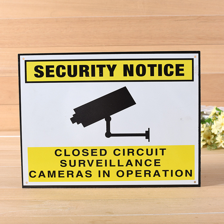 Wholesale 1000pcs Metal Warning Sign Custom Design Camera Video Surveillance Sign Sticker Security Notice Premises Monitored