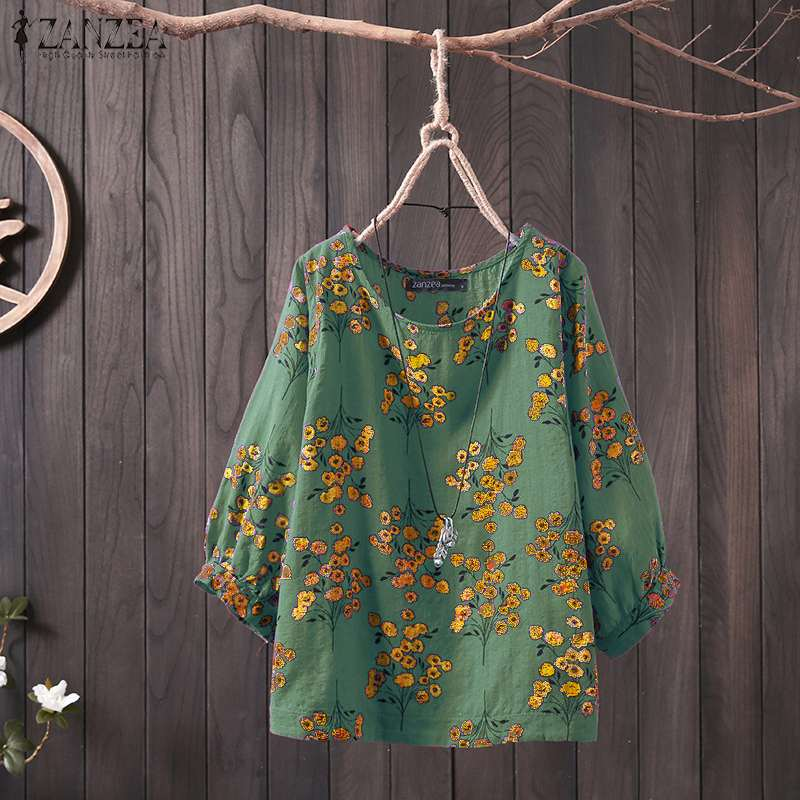 Tops Blusas ZANZEA 2020 Summer Women Printed Shirt Casual Loose Blusas Vintage Tunic Lantern Sleeve Loose Tops Plus Size Blouse