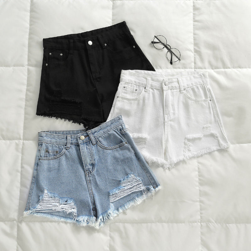 Casual Cool Summer Short Jeans Women Mid Waists Shorts For Girl Fashion Sexy Ladies Short Hole Jeans S~2XL