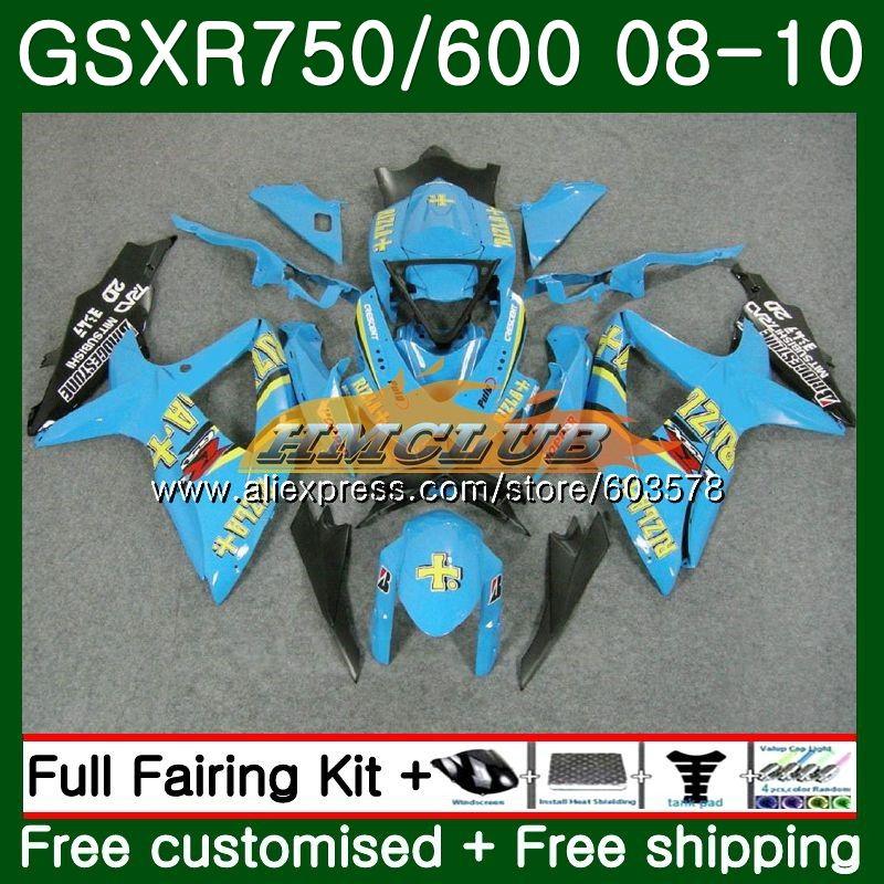 Body For SUZUKI GSXR 750 GSXR 600 08 GSXR750 08 09 10 7CL.51 GSX-R600 GSXR-750 K8 GSXR600 2008 2009 2010 Fairings Hot RIZLA cyan
