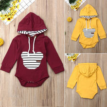 цены на 0-24M Newborn Infant Baby Boy Girl Autumn Clothes Solid Color Long Sleeve Hooded Romper Jumpsuit Playsuit Tops Clothing Outfits в интернет-магазинах