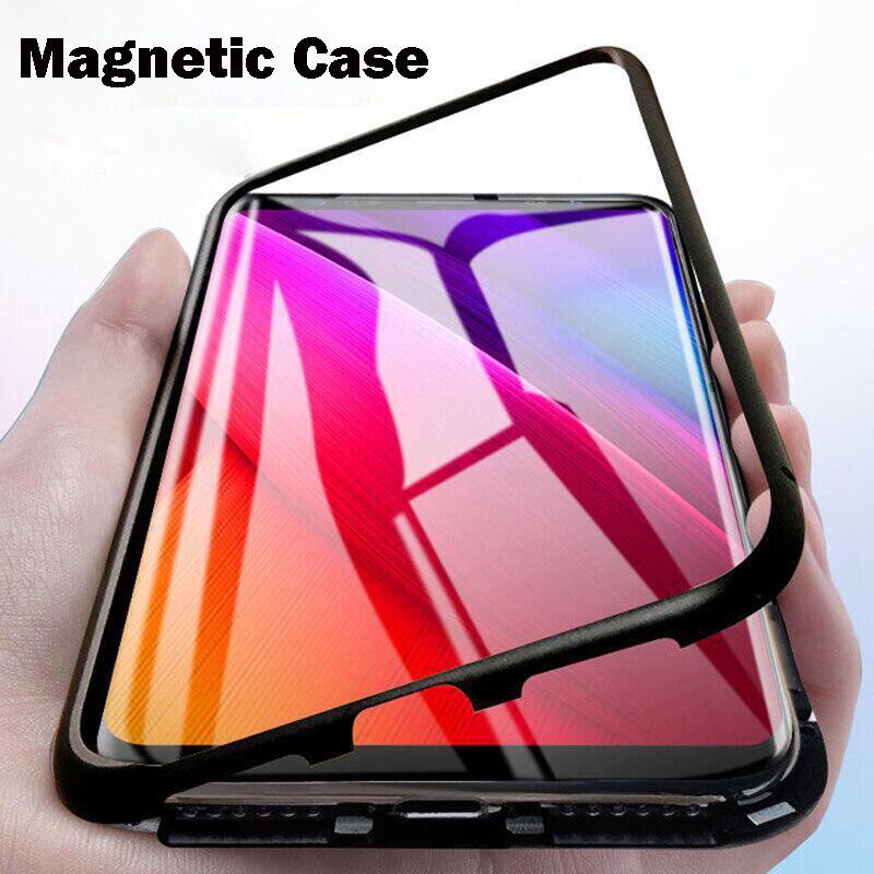 Magnetic Adsorption Metal Case For Xiaomi Redmi Note 7 5 6 Pro 6A K20 Pro For Xioami Mi 9 8 Lite SE F1 9T Glass Protective Cover