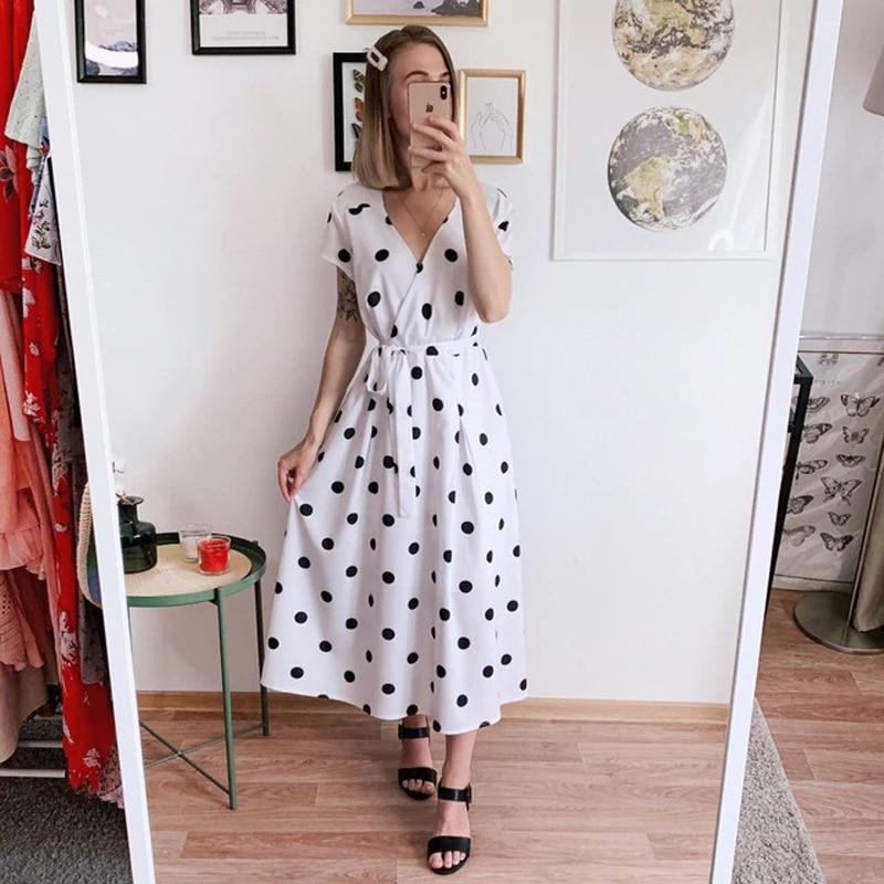 Lossky Summer Dress Women Vintage Dress Casual Polka Dot Print A-Line Party Dresses Sexy V-neck Short Sleeve Long Dress Fashion 5