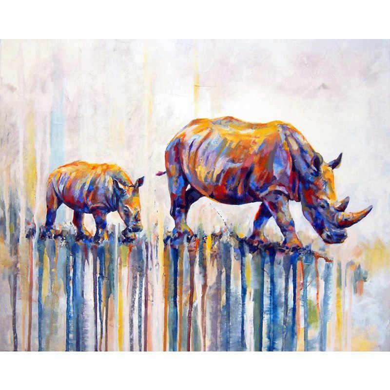 FAI DA TE Disegni e schemi per puntocroce rinoceronte 5D di Diamante Del Ricamo animale Pieno di Piazza Mosaico Cucito decorazione della casa della M741